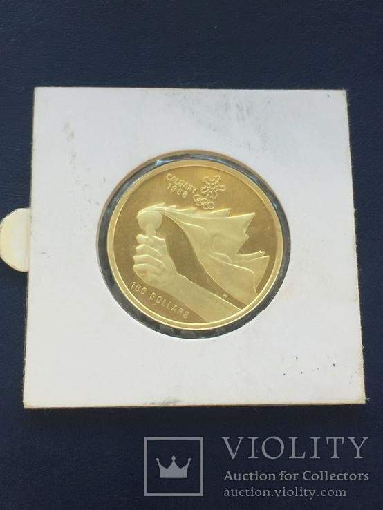 Монета Канада 100 долларов 1987 зимняя олимпиада Calgary, фото №3