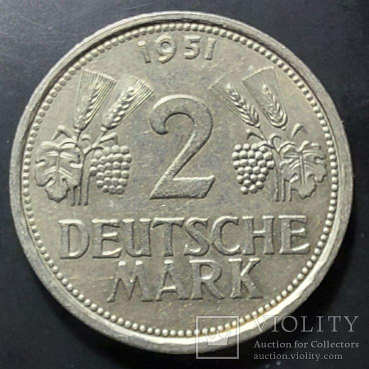 ФРГ. 1 марка 1951г. J (монетный двор Гамбурга). Редкий тип. Отличное состояние!, фото №3