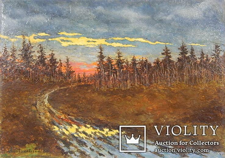 Витвиновский. Лесной пейзаж. Закат. 1986 г. Картина маслом 34,5 х 48,5 см. (1335)