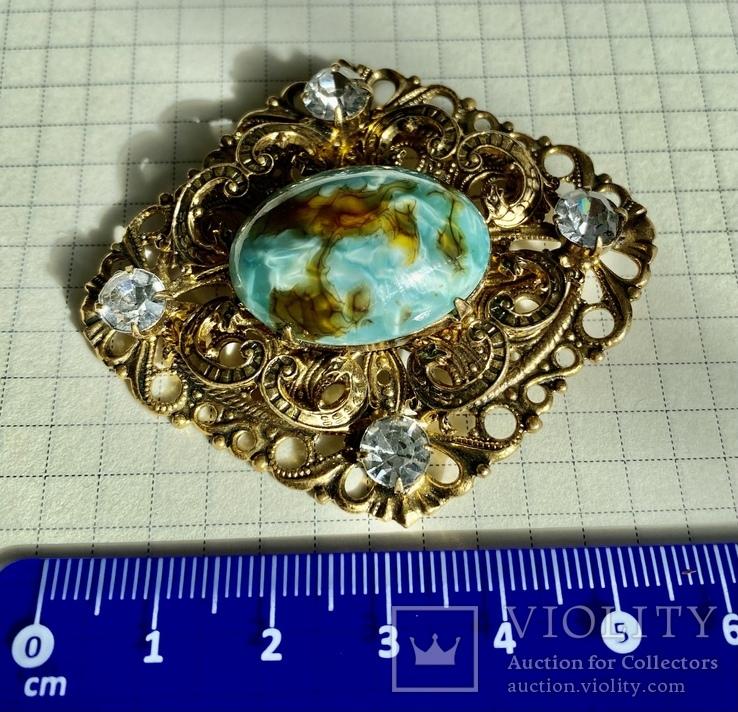 Брошь: позолота, кристаллы, керамика, фото №2