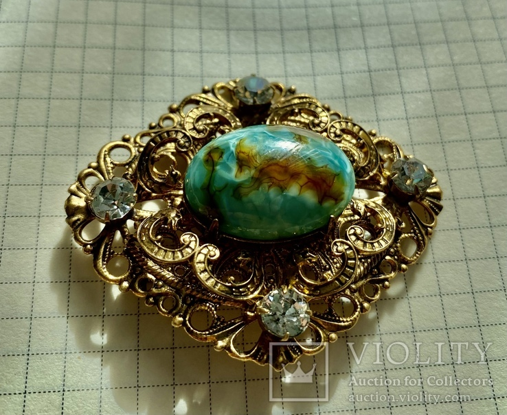 Брошь: позолота, кристаллы, керамика, фото №4