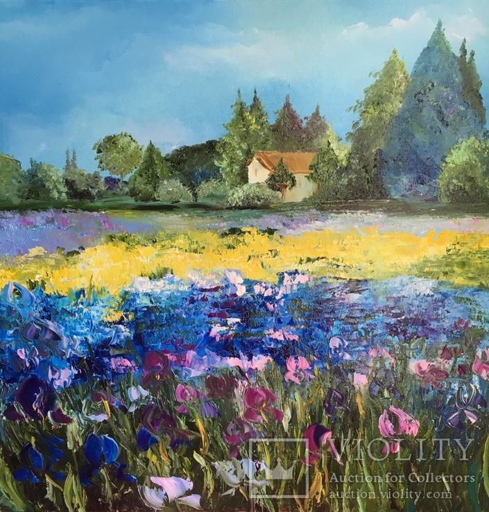 Картина «Поле ирисов» живопись 60х60 см