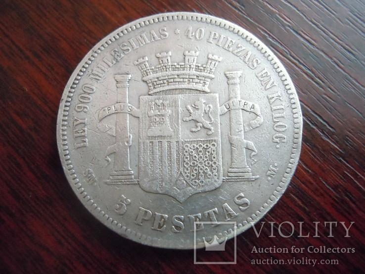 5 песет Испания 1870 года серебро, фото №3