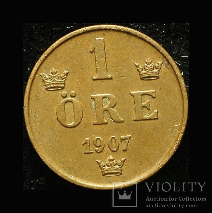 Швеция 1 эре 1907 Unc , фото №2