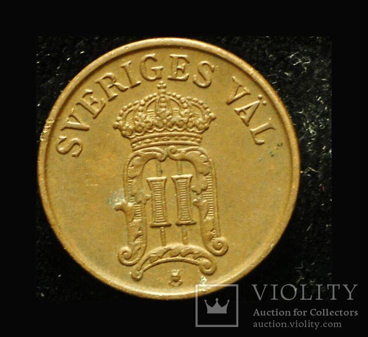 Швеция 1 эре 1907 Unc , фото №3