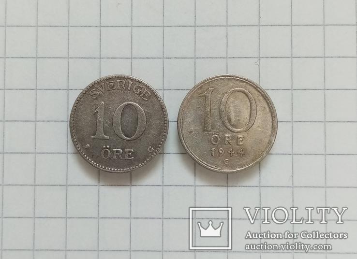 Швеция 10 эре 1934г-10 эре 1944г серебро, фото №2