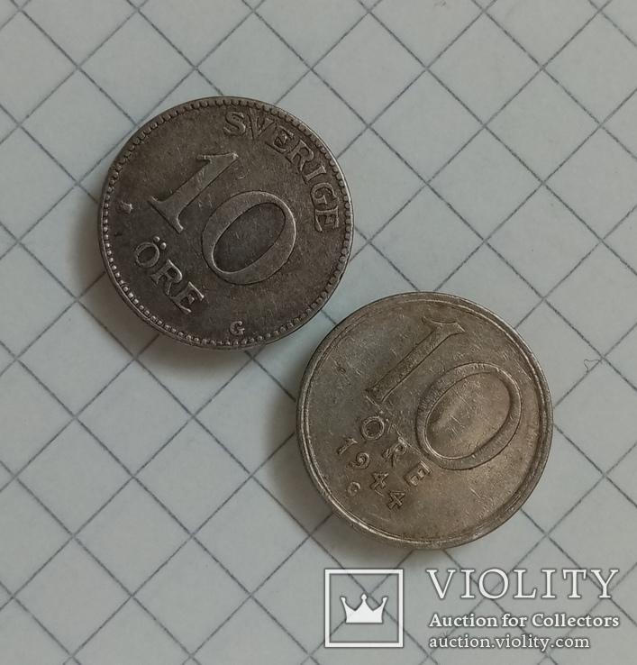 Швеция 10 эре 1934г-10 эре 1944г серебро, фото №5