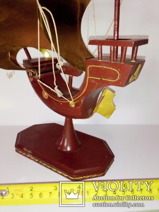 Винтажный старинный парусник.(Латунь, дерево.Авторский), фото №9