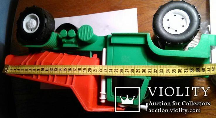 Самосвал большой зелёный с красным кузовом 42 см в длину., фото №6