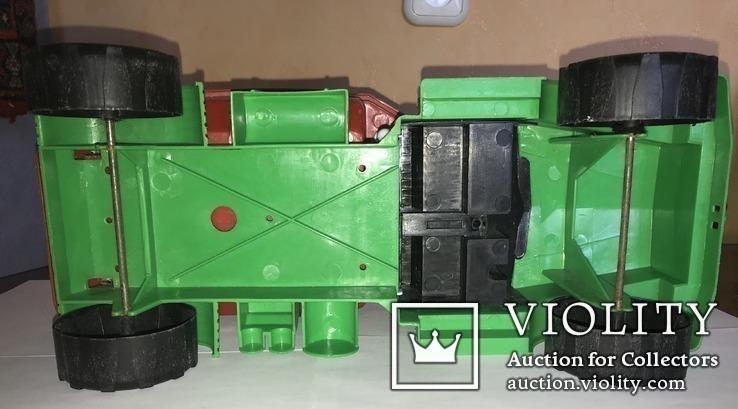 Самосвал большой зелёный с красным кузовом 42 см в длину., фото №9