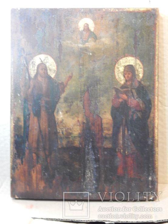 "Икона ""Иоанна Предтечи,Святой Анны,Иисуса Христа "" XIX в., фото №2"