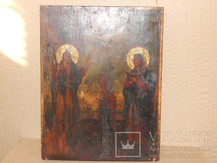"Икона ""Иоанна Предтечи,Святой Анны,Иисуса Христа "" XIX в., фото №4"