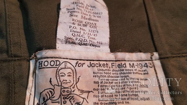 Капюшон американской куртки М43. 1945, фото №5