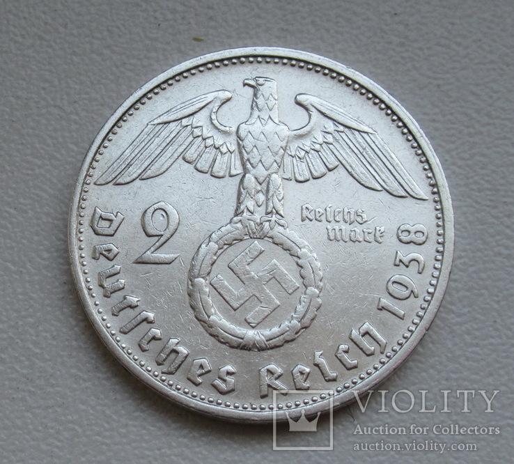 2 марки 1938 г. (G) Третий рейх, серебро, фото №4
