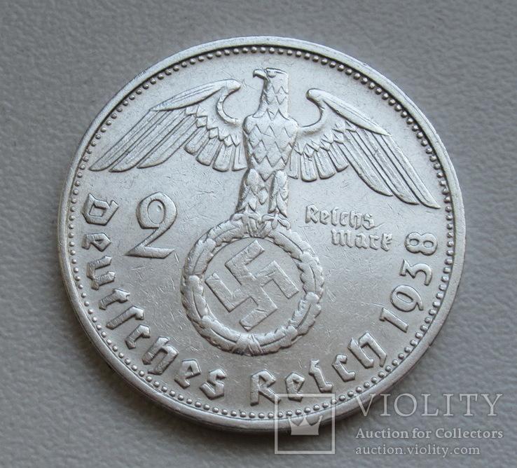 2 марки 1938 г. (G) Третий рейх, серебро, фото №5
