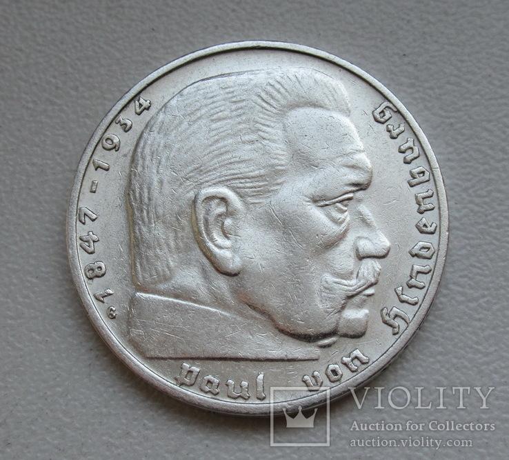 2 марки 1938 г. (G) Третий рейх, серебро, фото №8