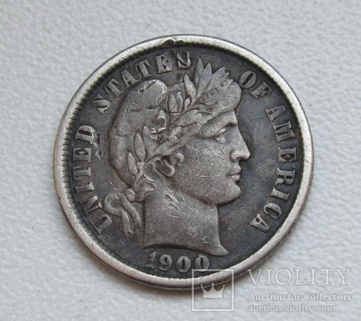 1 дайм / 10 центов 1900 г. США, серебро, фото №3