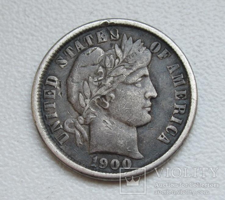 1 дайм / 10 центов 1900 г. США, серебро, фото №4