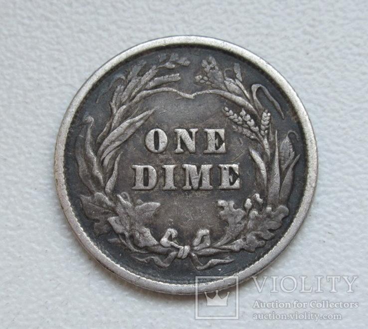 1 дайм / 10 центов 1900 г. США, серебро, фото №7
