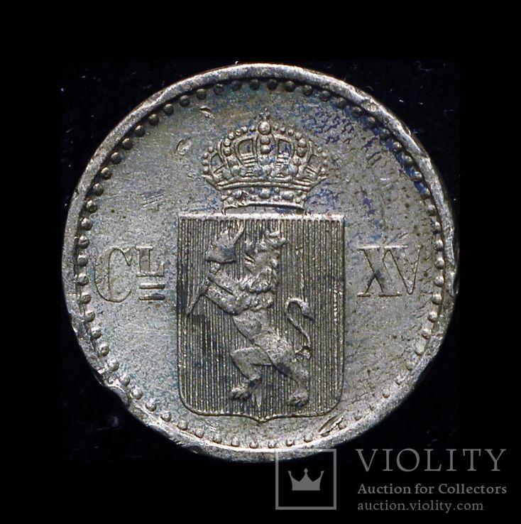 Норвегия 2 скиллинга 1871 серебро, фото №2