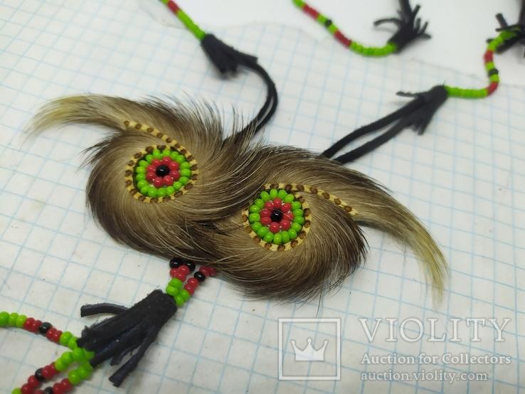 Ожерелье из кожи и меха. Ручная работа народов Севера, фото №4
