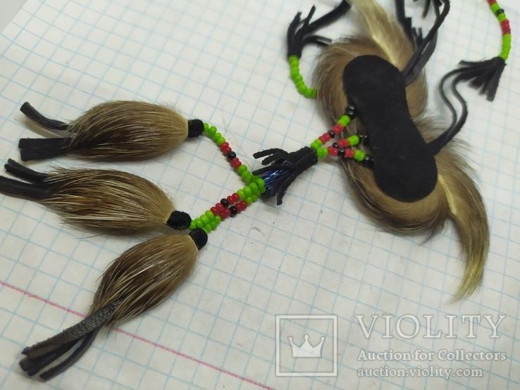 Ожерелье из кожи и меха. Ручная работа народов Севера, фото №7