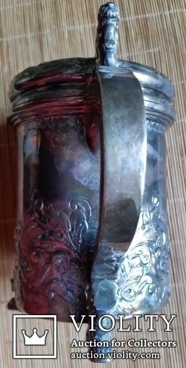 """Кухоль пивний срібний 835"""", Н16 см, 732 грами, фото №4"""
