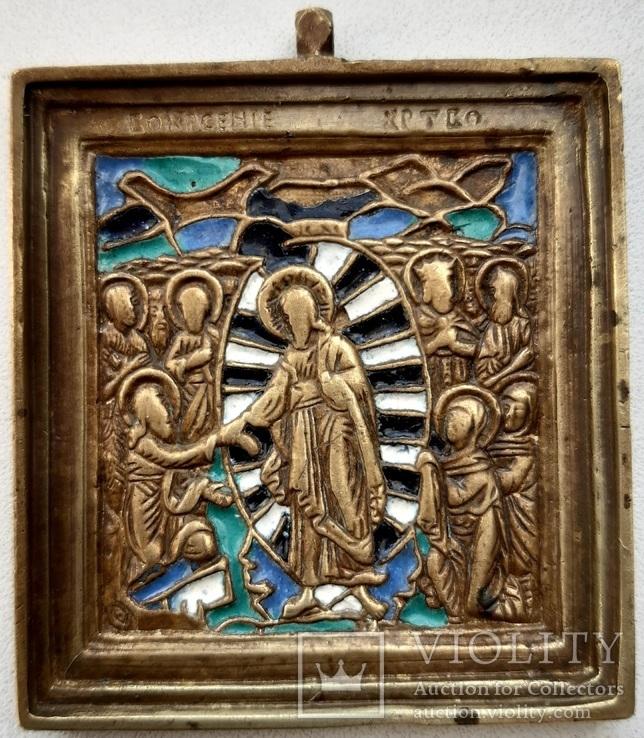 Икона Воскресение Христово, 19век, эмаль