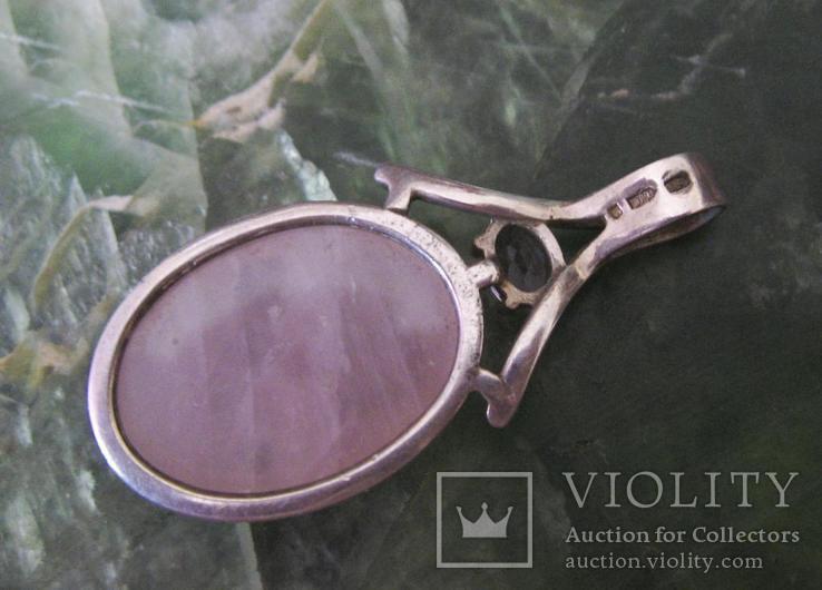 Кольцо и кулон Серебро 925 пр.Розовый кварц и фианиты.Украина., фото №6