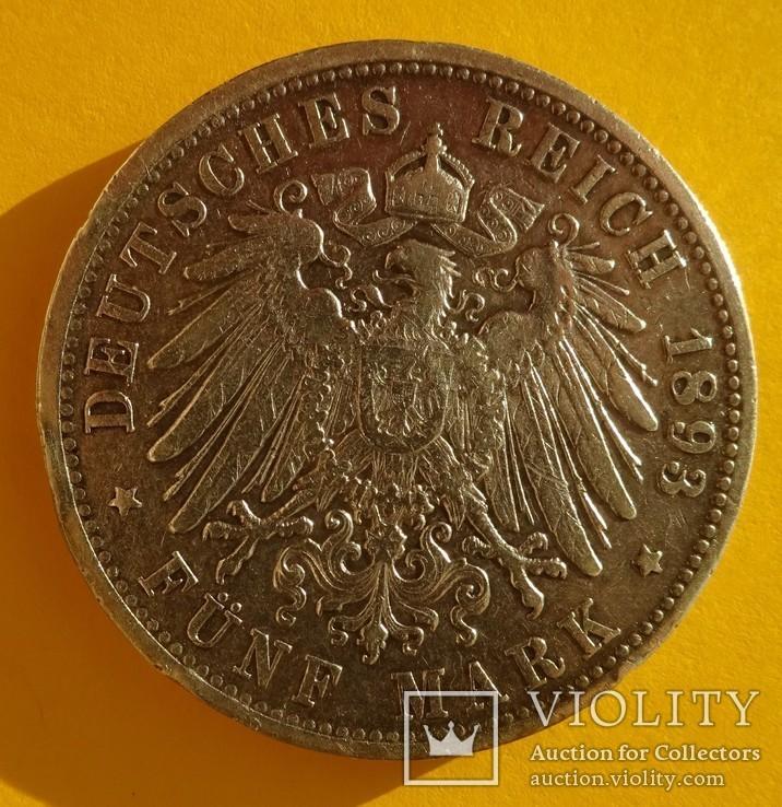 5 марок, Баден, 1893 год., фото №4