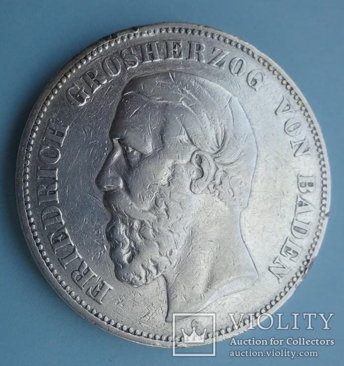 5 марок, 1875 год, G, Баден,, фото №3