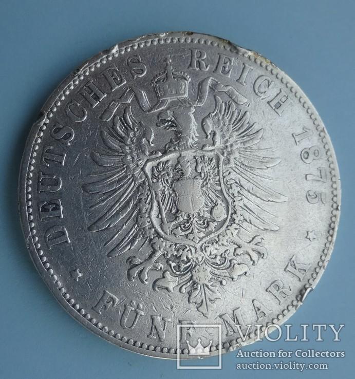 5 марок, 1875 год, G, Баден,, фото №6