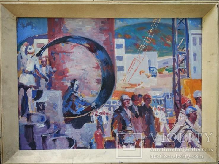 """В.Кнышевский """"Строительство АЭС"""", орг.м.51*68см, 1979г, фото №2"""