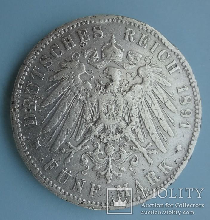 5 марок, 1891 год, Саксония,, фото №5