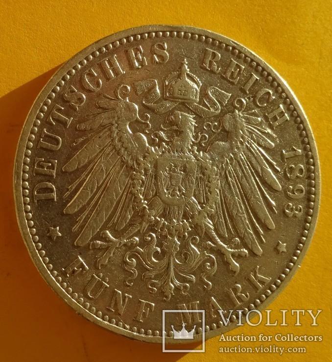 5 марок, 1893 год, Саксония,, фото №5