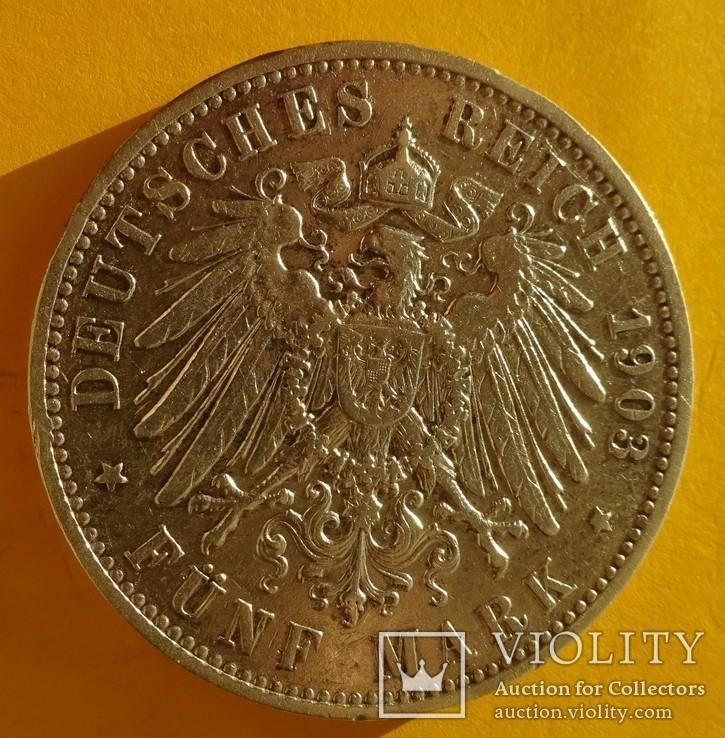 5 марок, 1903 год, Саксония,, фото №5