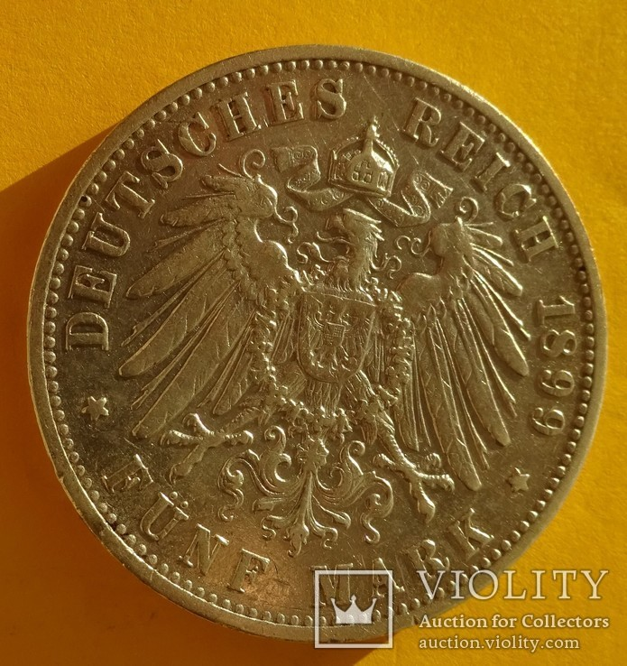 5 марок, 1899 год, Вюртемберг,, фото №5
