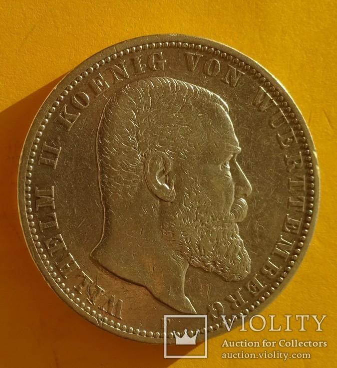 5 марок, 1892 год, Вюртемберг,, фото №3