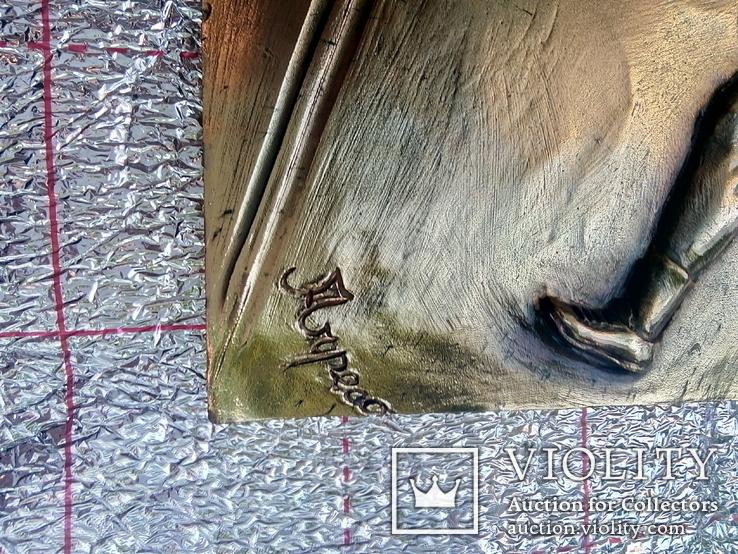 Барельефиз Целлулоида Спорт Большой Теннис Подпись Автора  25Х17 см   0.8 кг, фото №6