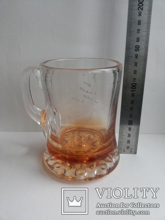 Пивная кружка массивная чешское цветное стекло, фото №6