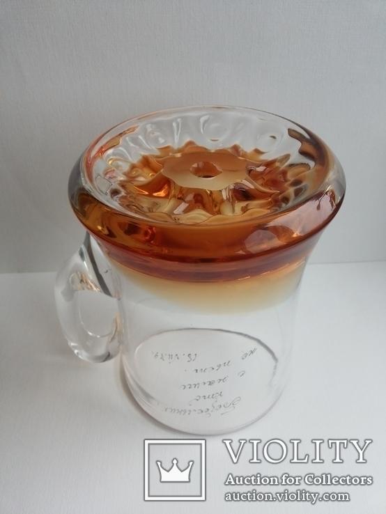 Пивная кружка массивная чешское цветное стекло, фото №8