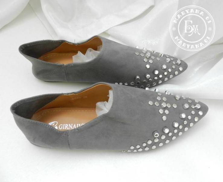 Трендовые туфли / балетки мюли серые 39 размер