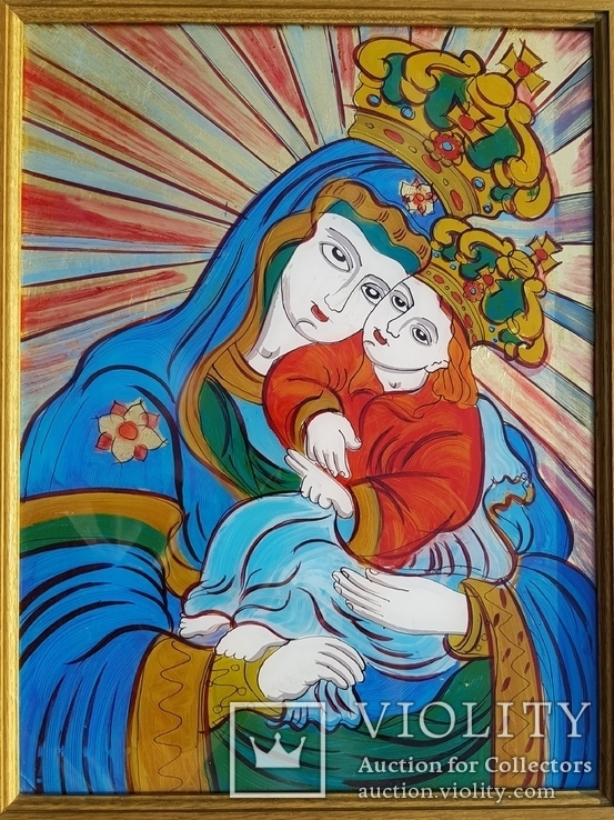Икона на стекле авт.О.ковальчук Почаевская Богородица, фото №3