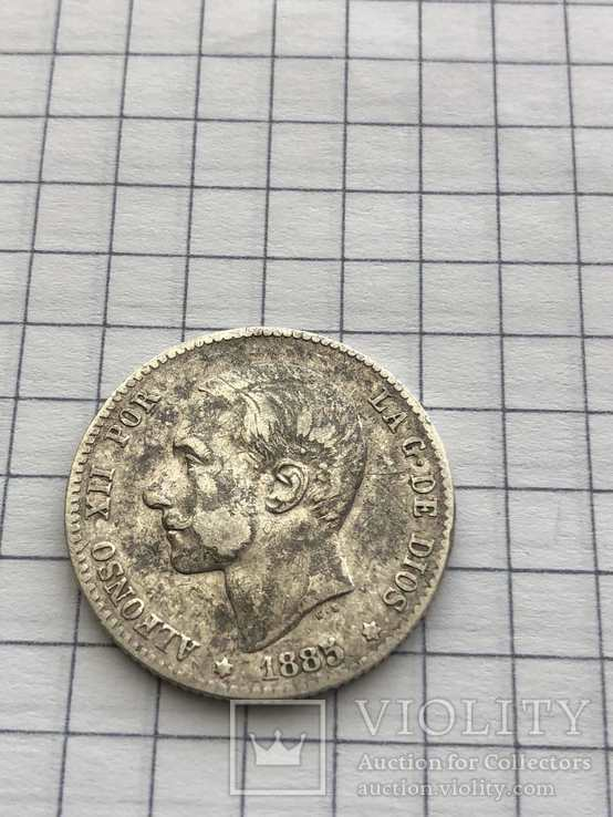 1 песета, 1885(Испания) серебро 835 проба(117), фото №2