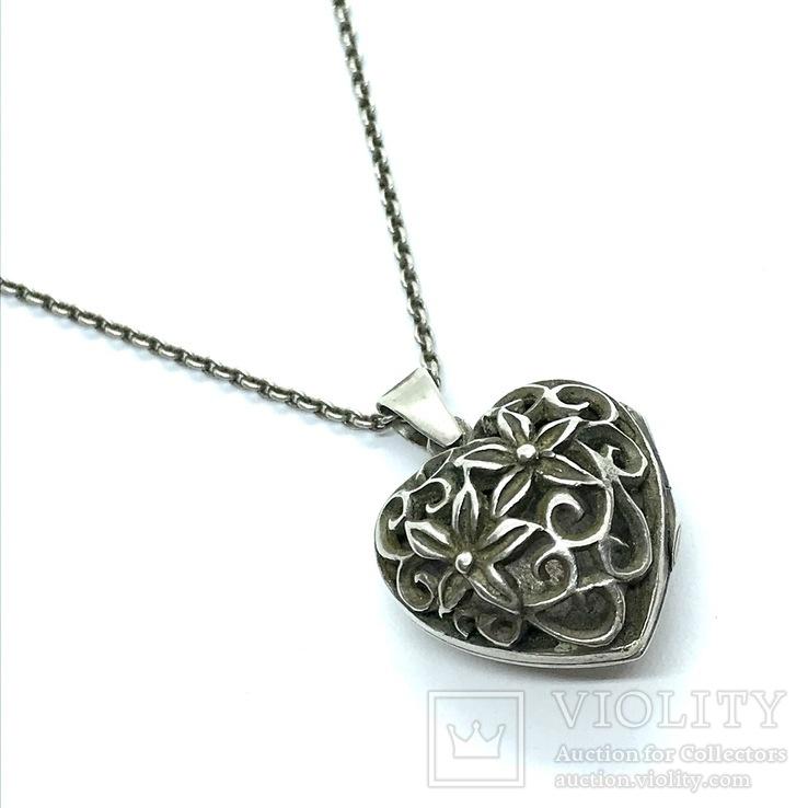 Подвес серебро сердце на цепочке, фото №2