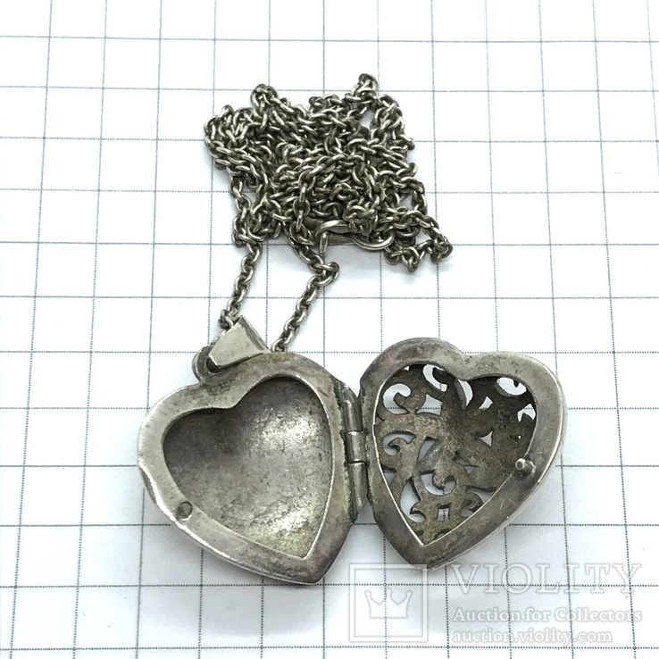 Подвес серебро сердце на цепочке, фото №3