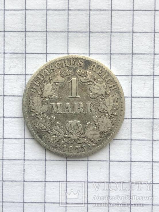 1 марка, 1875(Германия) серебро 900 проба (124), фото №2