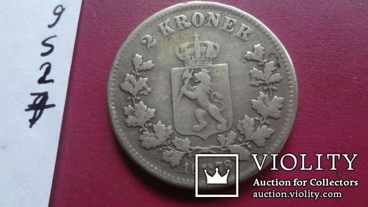 2  кроны 1878  Норвегия тираж  300000  серебро  (S.2.7)~, фото №5