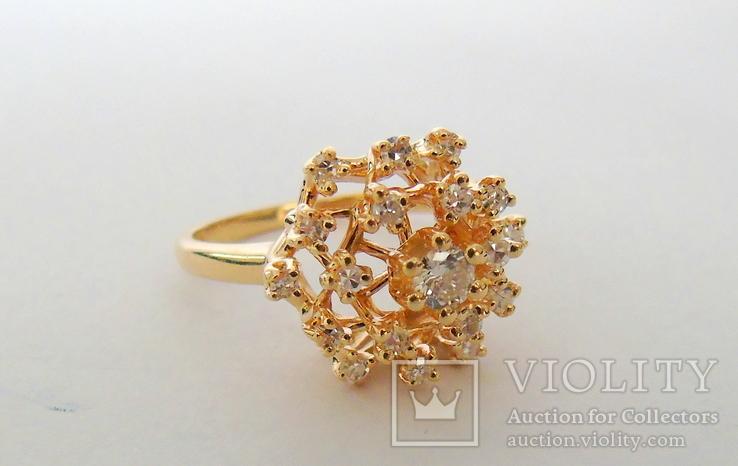 Золотое кольцо с бриллиантами, фото №13