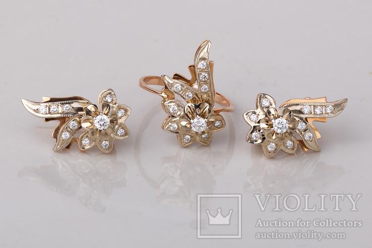 Серьги и кольцо с бриллиантами, фото №4